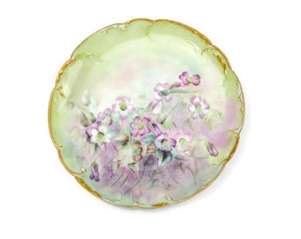 French Haviland Limoges Plate / Artist Rendered / Floral Motif / Collectible / Cabinet Plate / Heirloom Plate / c1800s