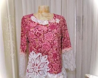 Shabby Pink Top, ruffle lace shabbys chic, upcycled cotton clothing, altered clothing LARGE