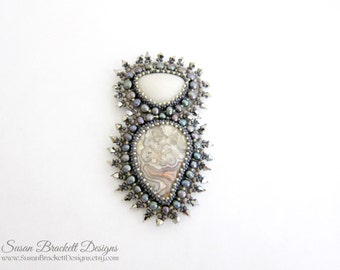 Beaded Brooch Stormy Nights Bead Embroidered Brooches Bohemian Pins Boho Style Pearl