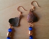NEW LISTING - Copper and Irridescent Blue Glass Drop Earrings