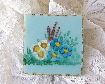 Vintage Celluloid Brooch Turquoise Pin Hand Painted Flowers 1930s Gift For Mom