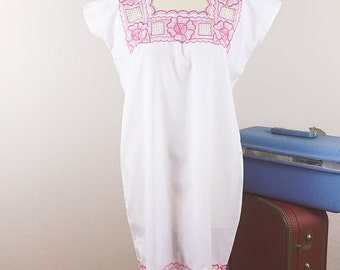 70s 80's Mexican Sack Dress Coverall, White Pink Embroidered Sheer Dress, Vintage Boho Hippie Mini, S M