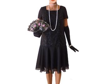 Retro Flapper Dress, Black Sequin, Roaring 20s Dress, Great Gatsby Dress, Downton Abbey, Flapper Costume, Custom Size, Chiffon, Lace, 1920s