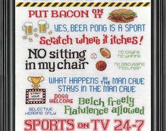 MAN CAVE RULES - Counted Cross Stitch Pattern -  men bacon beer sports funny cross stitch father's day needlework pattern chart