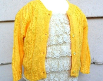 Vintage Baby - 9-12MO - Hand Knitted Cable Knit Baby Cardigan Sweater with Tiny Yellow Buttons