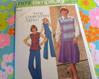 Vintage Simplicity Pattern 7572, skirt pattern, pants pattern, tunic pattern,  size 12 Pattern