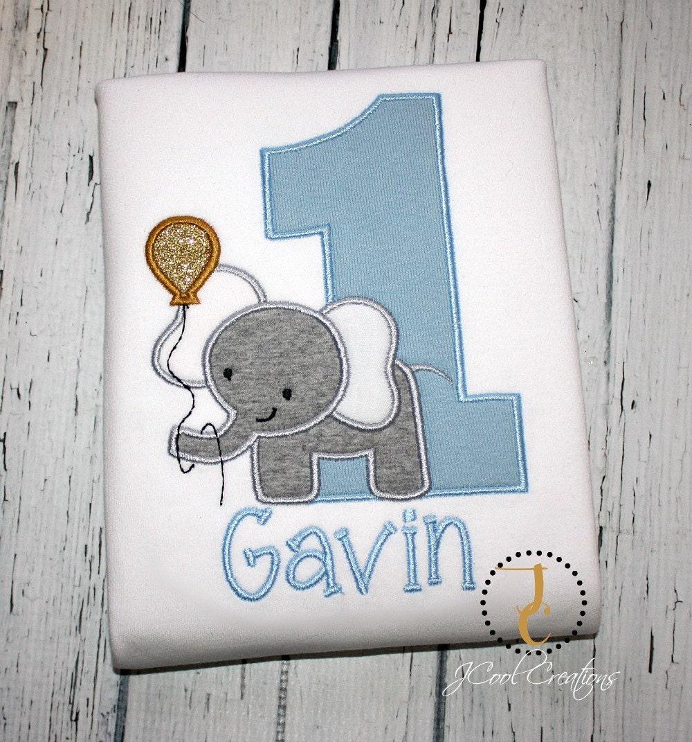 Boys Birthday Shirt 1st Birthday Jungle Birthday Elephant