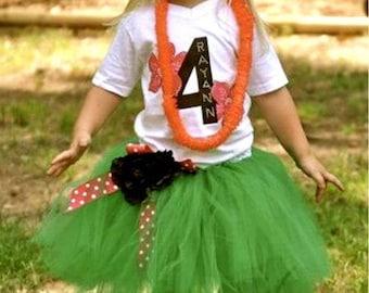 Girls Hula Luau Tutu Dress Halloween Costume (Newborn - 5T)