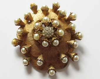 HAR Pearl and Rhinestone Flower Cluster Pin Brooch  Designer Jewelry Fall Tones