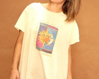90s NEW age SUN abstract cream celestial print slouchy t-shirt