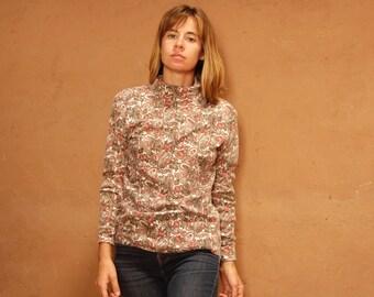 90s turtleneck paisley mid 90s grunge TWIN PEAKS cotton long sleeve shirt