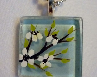 Hand Painted Cherry Blossom Pendant