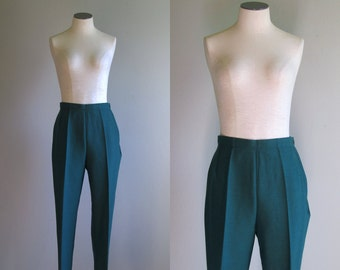 Vintage 1950s 1960s Cigarette Pants. 50s 60s Forest Green Riding Pants. Mid Century Stirrup Pants. Size Small Medium