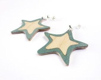 Statement earrings, boho earrings, stars earrings, bohemian earrings, earrings handmade, earrings wood, modern earrings, everyday earrings
