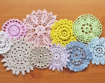 10 Pastel Colored Hand Dyed Vintage Crochet Doilies, Small Crochet Doilies, Perfect for Crafts, Decorating, Holidays, Weddings