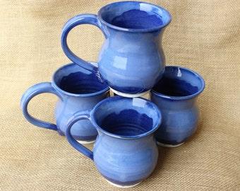 Wedding registry mugs for Colette Chretien and Sammy Duker, Blue stoneware 16 oz pottery mug, wheel thrown, ready to ship