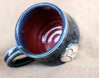 16 oz 'R' mug, Personalized pottery mug, Customized gift, Stoneware, wheel thrown, ready to ship