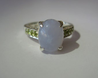 Natural Blue Lavender Chalcedony, Peridot In Sterling Silver Ring, 3.11ct. Size 6.5