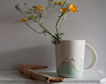 porcelain mug, white modern mug, simple fun design mug, illustrated pottery and ceramics, for mountain lovers, mountain cup, karoart