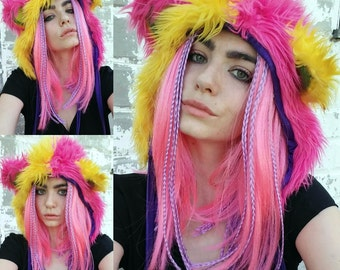 Pink & Yellow Light Up Furry Monster Hat