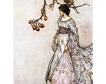 Fairy Greeting Card - Peter Pan in Kensignton Gardens - Arthur Rackham Repro - Fairy Woman Under Tree