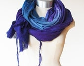 indigo and purple ombre shawl, hand dyed wrap, cotton scarf, transitional scarf