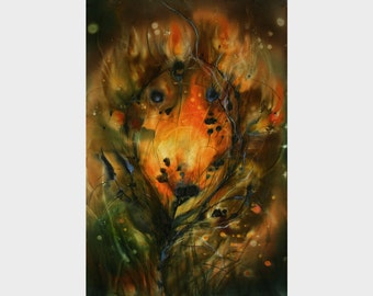 Phoenix feather, Medieval fairy tale, Fire feather, Fantasy painting, giclee print, canvas, landscape, rich warm colors, Fire Bird, orange