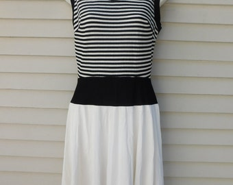 Vintage Gay Gibson Fit And Flare Day Dress Black And White Striped Nautical Dress