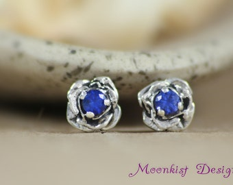 Silver Rose Blue Sapphire Post Earrings - Sculptured Silver Flower Stud Earrings - Blue Bridal Flower Solitaire Earrings - Blue Bridesmaid