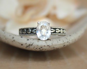 Oval White Sapphire Leaf Engagement Ring in Sterling - Silver Engraved Leaf Ring - Flower and Leaf Promise Ring - Diamond Alternative