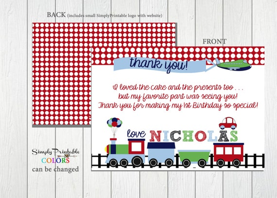 Train Planes Automobile Car Thank You Card, Printable or Printed Thank You Note