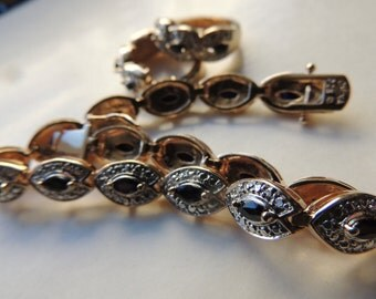Sterling silver vermeil sapphire bracelet and pierced earrings    VJSE