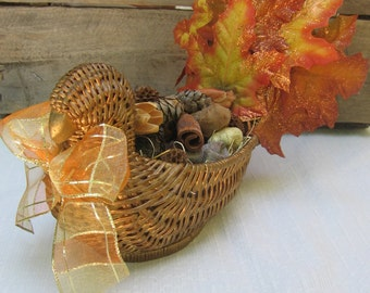 Turkey Potpourri Holder, Turkey Centerpiece, Fall Decor, Table Centerpiece, Fall Turkey, Thanksgiving Decor, Orange Gold Brown, Fall Leaf