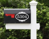 Mailbox Numbers Vinyl Decal - Vinyl Lettering Decal Border Frame Decal Mailbox Decor