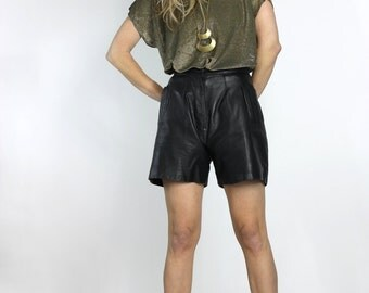 80s Leather Shorts Black Vintage Leather Shorts with Pockets s 26 waist
