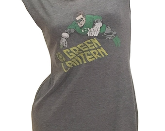 Vintage Style Classic GREEN LANTERN Reshaped T-Shirt Dress Sz. M