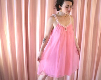 Sheer Pink Nightie with Lace, 60s