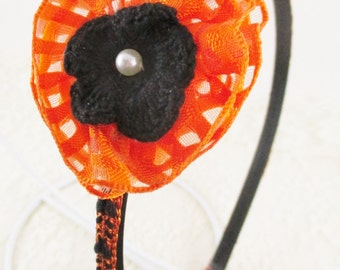 Orange and Black Flower Headband, Halloween Hair Accessory with Recycled Ribbon and Crocheted Flower with Pearl Center