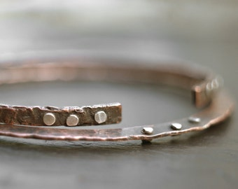 With Friends - Two copper bracelets with sterling silver rivets, oxidized textured