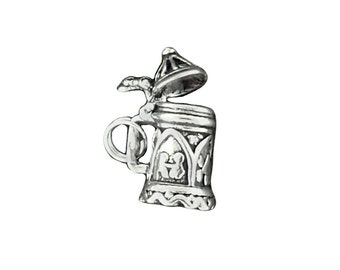 Sterling Silver Beer Stein Charm Lid Opens German Mug Pendant 3D Split Ring Attachment