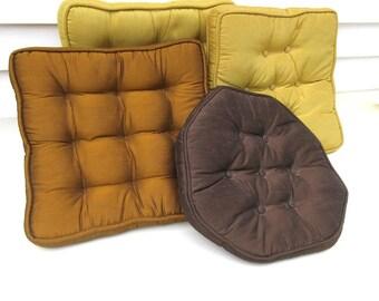 Mid Century Pillows, Accent Pillows, Sofa Pillows - Set of 4, Throw Pillows Yellow Copper Brown