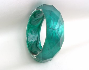 Vintage Lucite Bracelet, Bangle Bracelet, Green Jewelry, Faceted Cuff
