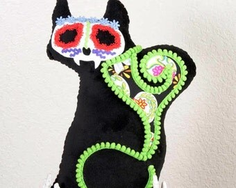 Calavera CATrina Day of the Dead Plush with Lime Trim