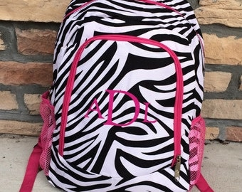 Black White and Pink Zebra  Personalized Backpack