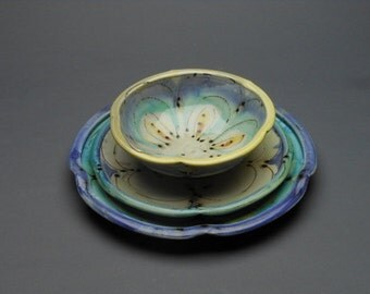 Custom, HandCrafted Pottery Dinnerware including plates and bowls