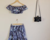 Floral 70s Style Twin Set Skirt and Matching Off The Shoulder Crop Summer Co Ord Party Lolita Matching Set