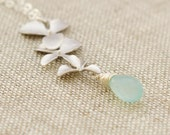 Cascading Silver Orchid Flower, Peruvian Aqua Chalcedony, Sterling Silver Chain, Silver Tropical Necklace, Gift Under 35