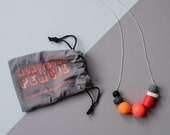 Neon Polymer Necklace on Silver Plate Chain (1)