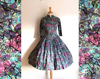 1950s painterly abstract  cotton day dress size xxsmall