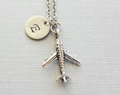 Airplane Necklace, Jet Plane, Pilot Gift, Aviation Jewelry, Friend Gift, Silver Jewelry, Personalized, Monogram, Hand Stamped Letter Initial